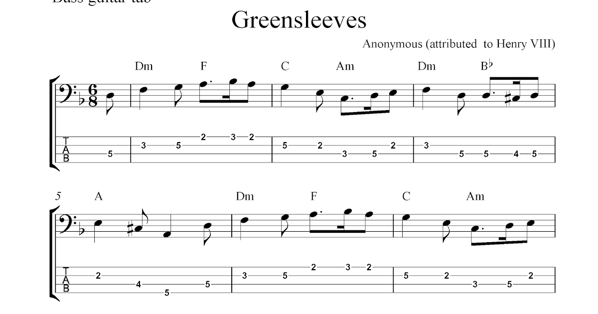 free bass guitar tab sheet music greensleeves. Black Bedroom Furniture Sets. Home Design Ideas