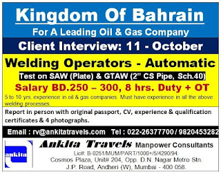 Welding operators Automatic for Bahrain
