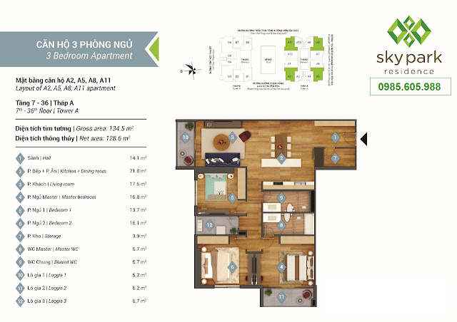 Thiết kế  mặt bằng căn hộ A2 - A5 - A8 - A11