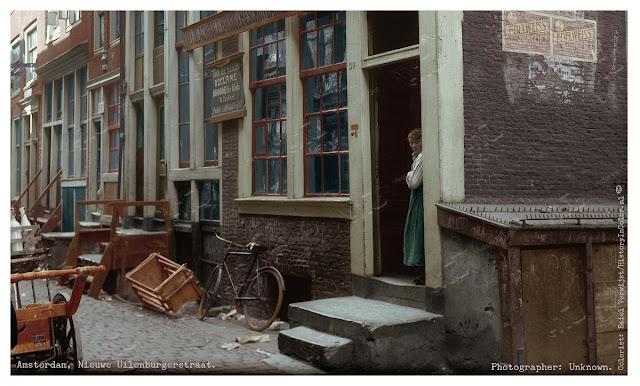 Amsterdam, Nieuwe Uilenburgerstraat ingekleurde foto