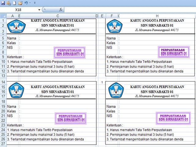 Aplikasi Cetak Kartu Perpustakaan SD,SMP,SMA Dengan Excel
