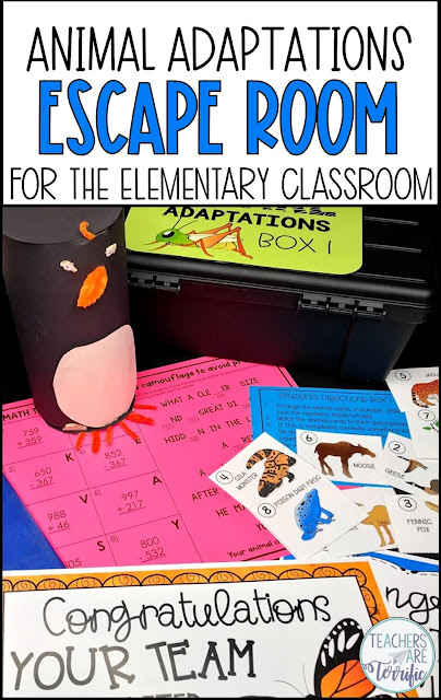 Perfect resource for your study of animal adaptations. Students complete a task to determine the lock code for a box! When the box is unlocked the next task is received. After three tasks students have earned their materials for an animal adaptation STEM challenge. This Escape Room resource includes detailed teacher's guides and the STEM Challenge. #STEM #escaperoom #elementary