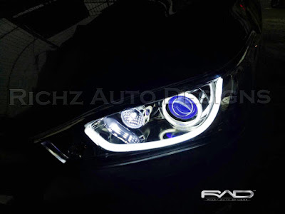 custom headlamp yaris angel eyes devil eyes DRL line