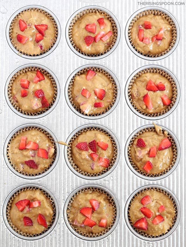 How to Make Strawberry Banana Muffins