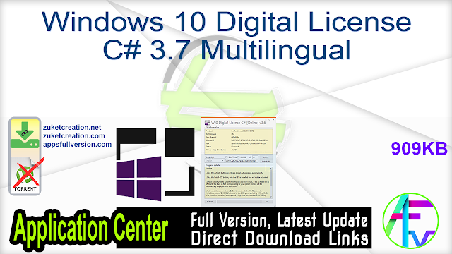Windows 10 Digital License C# 3.7 Windows Activator Free