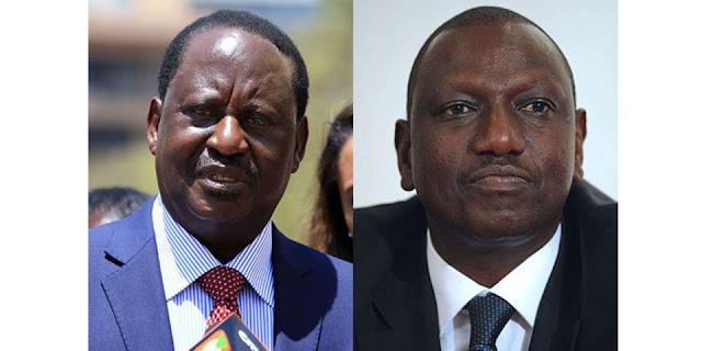 Raila Odinga and William Ruto pictures framed