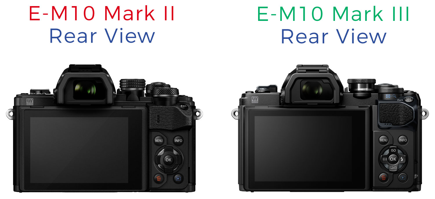 Park Cameras Blog Olympus Om D E M10 Mark Iii Vs Ii Review Kit 40 150mm Side By Comparison Of The Rear View