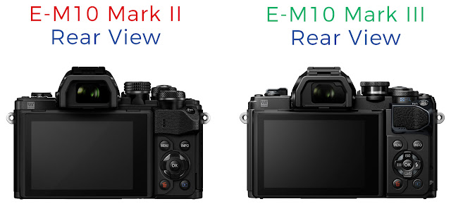 side-by-side comparison of the rear view of the Olympus E-M10 Mark III vs E-M10 Mark II