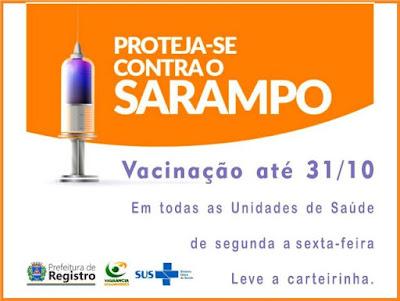 Campanha Nacional contra o Sarampo é prorrogada até 31 de outubro