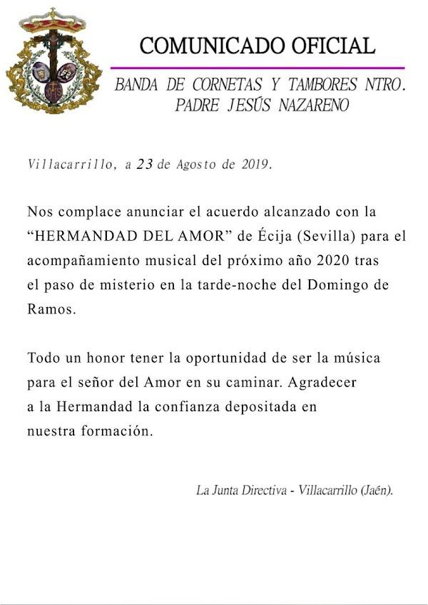 La banda del Nazareno de Villacarrillo ha sido contratada por la Hermandad del Amor de Écija