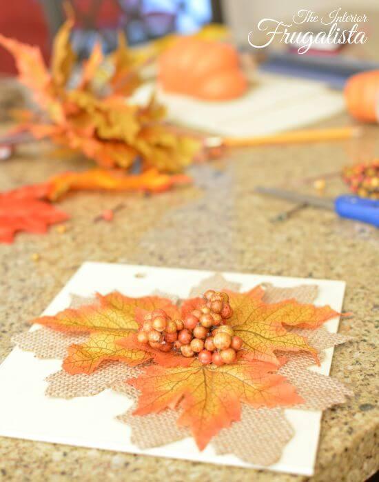 DIY Jumbo Scrabble Tile Fall Banner Leaves