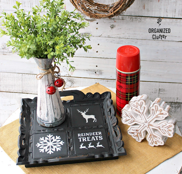 Stenciled Christmas Tray Upcycle