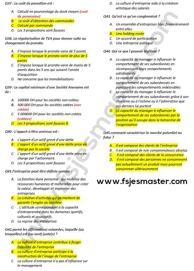 Correction du Concours Master Entrepreneuriat et Management des PME (EMPME) 2017-2018 - Fsjes Ibn Zohr Agadir