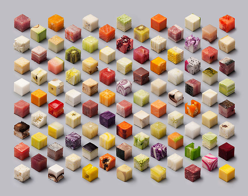 Artista duo curta alimentos crudos en 98 cubos perfectos