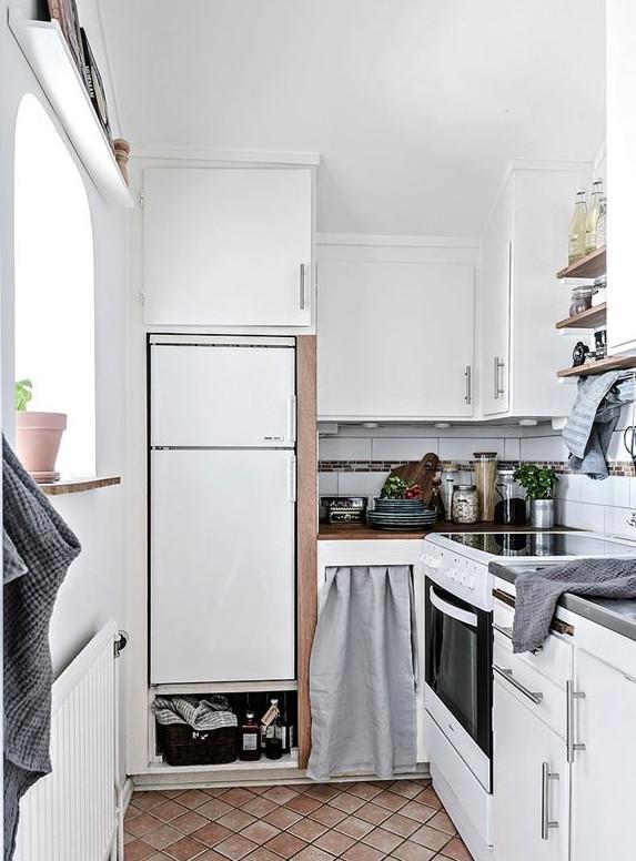 cocina, pequeña, decoracion nordica, estilo nordico, nevera,