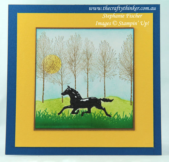 #thecraftythinker #cardmaking #stampinup #gallopinghorsecard #countryroad , Horse card, Country scene, Country Road, Winter Woods, Enjoy Life, Stampin' Up Australia Demonstrator, Stephanie Fischer, Sydney NSW