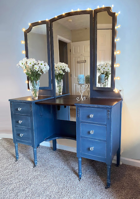 Denim Blue Antique Vanity with Dovetail Drawers and Makeup Lights