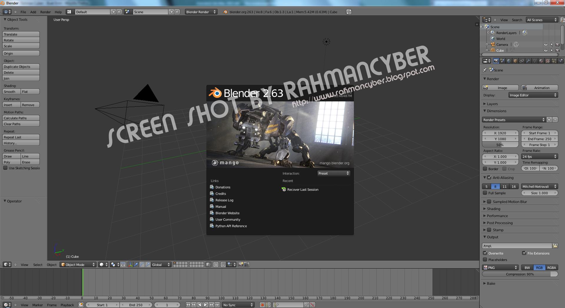Tampilan Blender 3D 2012