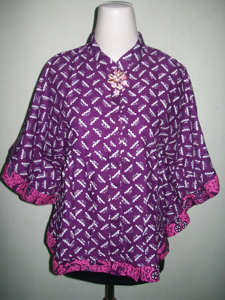 Blus Batik Wanita Modern Kelelawar Kipas Bahan Katun Halus BKP001