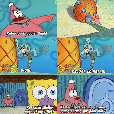 Meme Spongebob : Perang Sarung