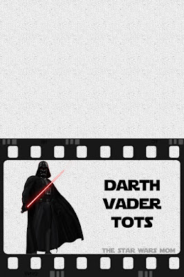 Darth Vader Tater Tots Star Wars Party Food Label