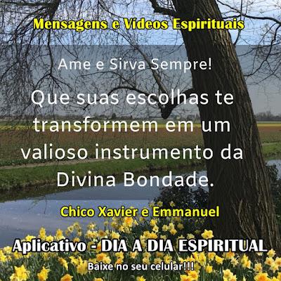 Que suas escolhas te transformem em um valioso instrumento da Divina Bondade. Chico Xavier e Emmanuel Aplicativo Dia a Dia Espiritual