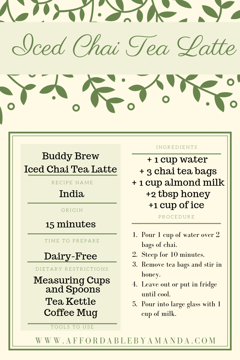 Recipe: Buddy Brew Iced Chai Tea Latte | Affordable by Amanda | Tampa Bay Blogger