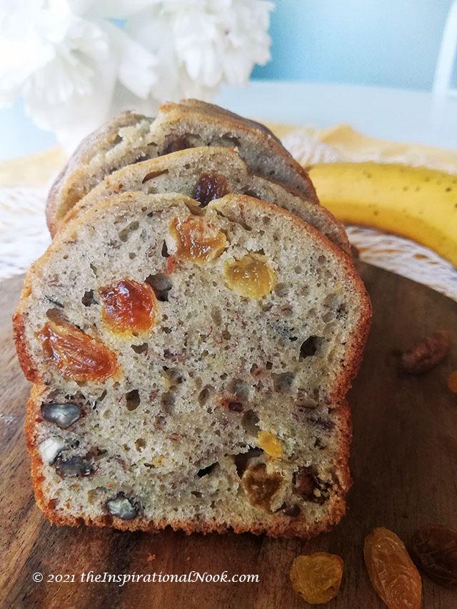 One banana banana bread, 1 banana banana bread, mini loaf banana bread, overripe banana healthy loaf, moist banana loaf, banana bread with nuts and raisins
