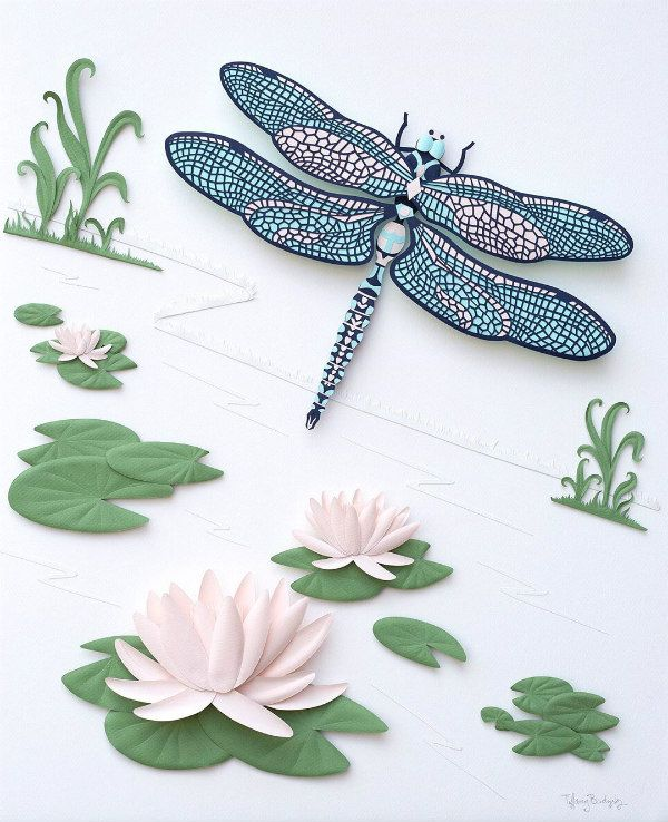 paper sculpture dragonfly and water lilies