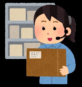 倉庫のピッキング作業のイラスト(女性・ボイスピッキング)