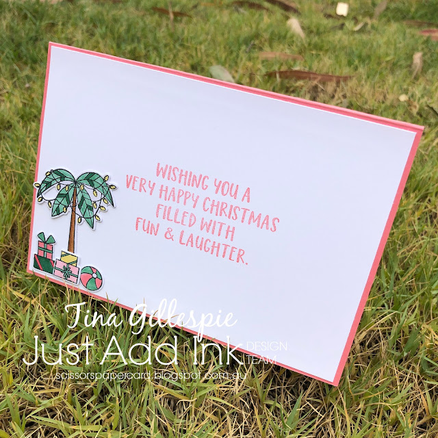 scissorspapercard, Just Add Ink, Sun-Lovin' Santa, Joy To The World Paper Pumpkin, Rectangle Stitched Dies, All Dressed Up Dies, Tropical Escape DSP, Stampin' Blends