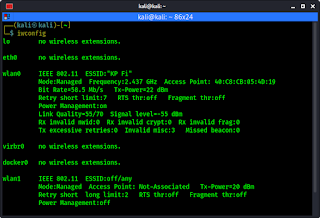 checking wireless interfaces using iwconfig