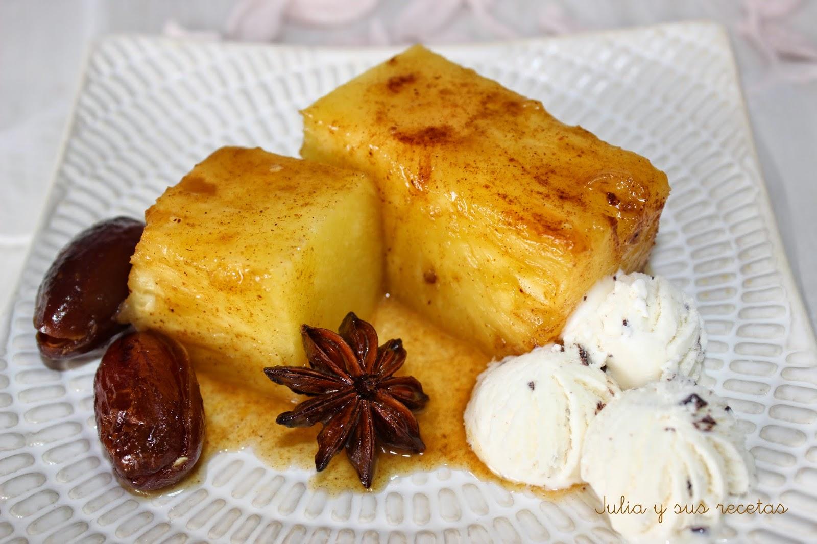 Piña asada a la miel. Julia y sus recetas