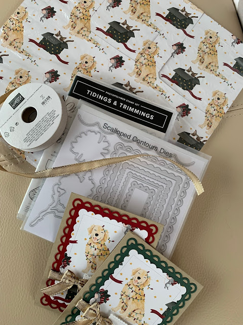 Craft items used to create dog-themed Christmas Cards