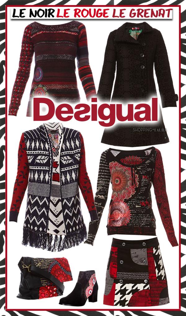 Look baroque avec jupes et tops noir-rouge-grenat DESIGUAL