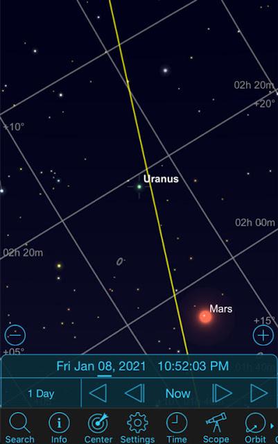 Sky Safari Pro screenshot of current Mars-Uranus position (Source: Palmia Observatory)