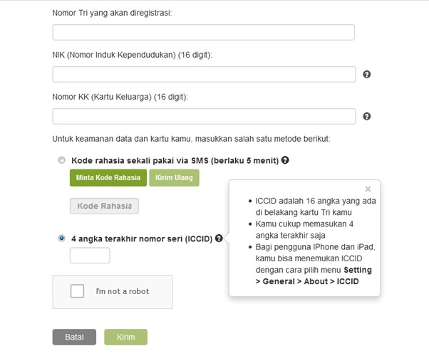 data registrasi kartu tri