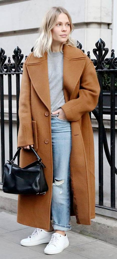 fall fashion trends: brown coat + bag + top + ripped jeans + sneakers