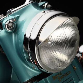 Royal Enfield nacelle holds headlight, pilot lights and instruments.