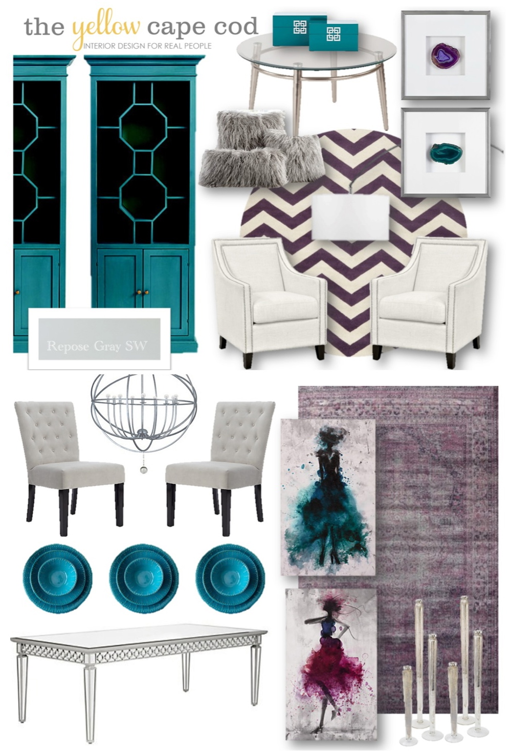 The Yellow Cape Cod: Teal, Purple and Gray Living Room and Dining ...