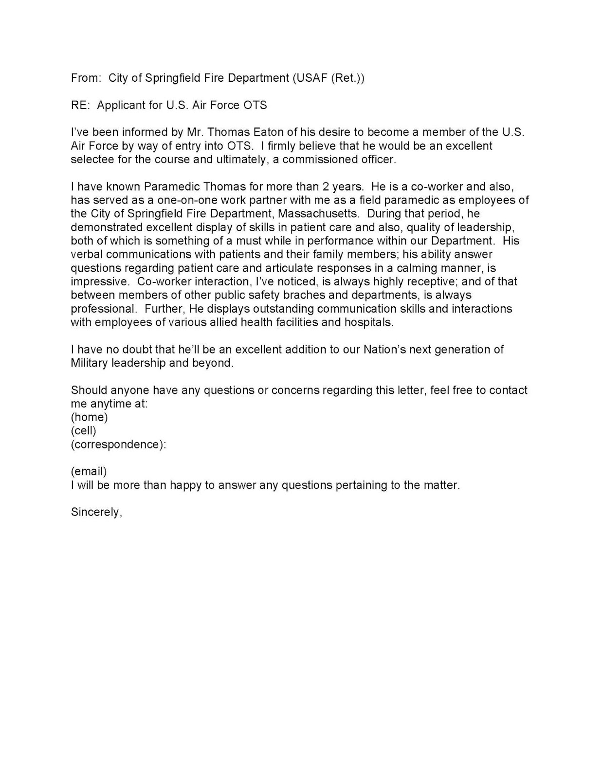 Pilot personal statement