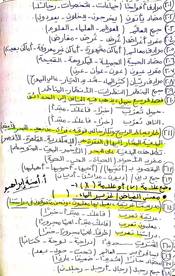 336 سؤال اختيار من متعدد للصف الرابع الابتدائي يشمل كل أجزاء المنهج قراءة ونصوص ونحو ومواطن جمالية 10