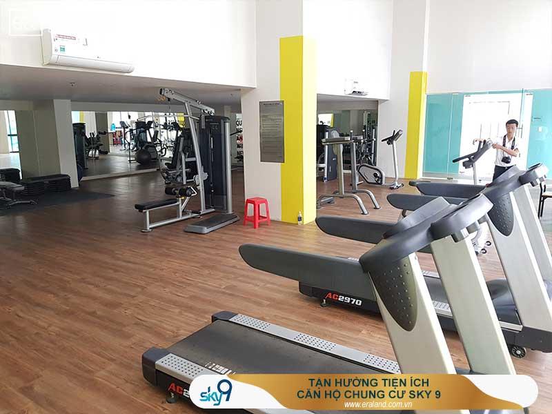 Phòng tập Gym - Yoga tại căn hộ chung cư sky 9