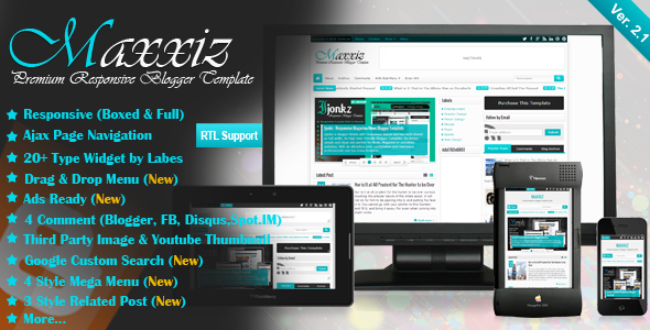 Maxxiz v2 1 responsive magazine news blogger template for E magazine templates free download