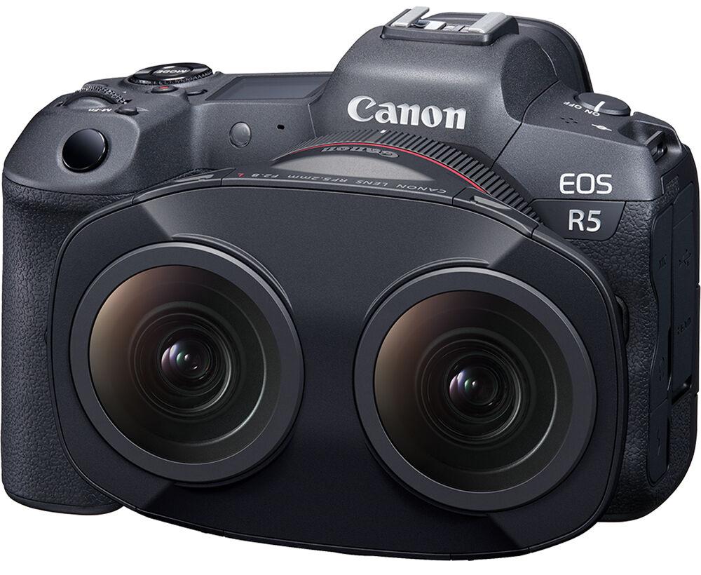 Стереообъектив Canon RF 5.2mm f/2.8L c камерой Canon EOS R5
