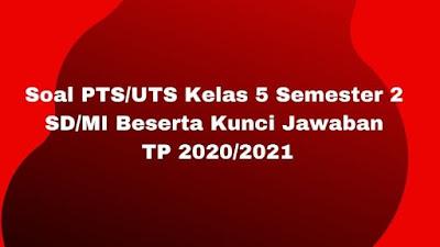Soal PTS/UTS Kelas 5 Semester 2 SD/MI Beserta Kunci Jawaban TP 2020/2021