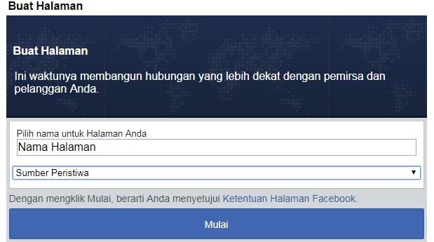 Tampilan Awal bikin fanspage