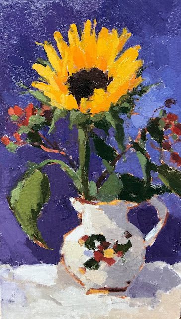 #406 'Sunflower & Berries' 8×14″