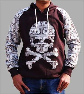 Men's Fleece Self Pattern Hooded Pullover
