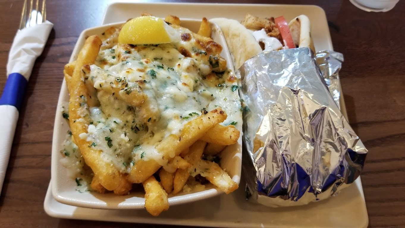 Feta fries and chicken gyro at The Great Greek, Troy, MI